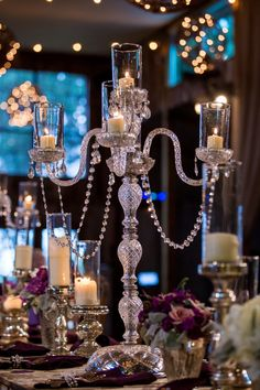 Crystal Candelabras|{Purple and Silver} Winter Wedding in Texas|Photographer: Jennifer Weems Photography