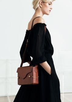 &OtherStories, black off shoulder dress, brown bag