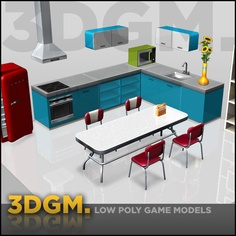 kitchen retro 3dgm obj - kitchen retro collection 3DGM by 3D Game Models