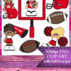 Clipart | Time For Football Red Black | Kristi W. Designs Reseller |  for Personal & Commercial Use Instant Download