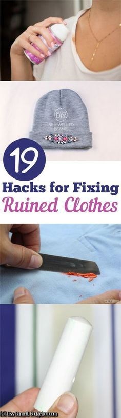 19 Hacks for Fixing Ruined Clothes. I have kids therefore I have ruined clothes! Great list of laundry hacks.