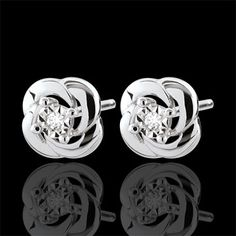 Earrings Freshness - Camélia - white gold, Delicacy and femininity are concentrated in these sweet precious diamond hearts with flowers 2 diamonds: carat - White gold Gold = g. Or Rose, Glamour, Bracelets, Gold Jewelry, Studs, Hanger, Cufflinks, White Gold, Sister Location