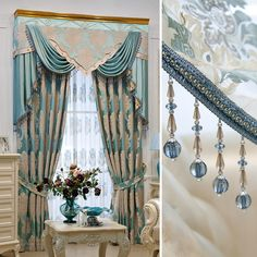 luxury window curtain - Blue Angel $180  (45% off)