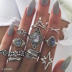 Rings Oxidised Silver Women's Oxidised Silver Rings Material: Copper  Size : 7 8 9 Description: It Has 11 Pieces Of Women's Finger Ring Work: Embellished Country of Origin: India Sizes Available: Free Size, 7, 8, 9   Catalog Rating: ★3.9 (3491)  Catalog Name: Women's Oxidised Silver Gold Plated Rings CatalogID_434546 C77-SC1096 Code: 892-3164582-507
