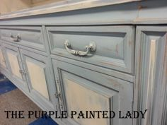 The Purple Painted Lady - Louis Blue Chalk Paint® by Annie Sloan with Old White dry brushed over specific areas. Unfinished Furniture, Chalk Paint Furniture, Distressed Furniture, Painting Kitchen Cabinets, Kitchen Paint, Annie Sloan, Kitchen Hardware Trends, Purple Painted Lady, Armoire