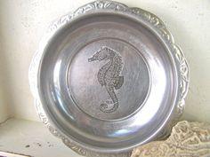 Shabby Beach Cottage Home Decor Seahorse Vintage Tin by SweetMeas, $34.00