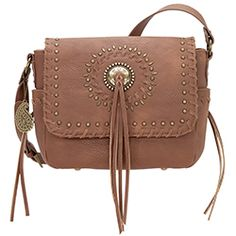 Bandana by American West Sioux Crossbody Bag Tan Faux Leather Flap Fringe Handbags, Purses And Handbags, American West Handbags, Western Purses, Sioux, Fashion Handbags, Leather Purses, Saddle Bags, Bandana