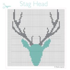 Here's my stag head cross stitch pattern that I used to create my stag head cross stitch cushion. Counted Cross Stitch Patterns, Cross Stitch Charts, Cross Stitch Designs, Cross Stitch Embroidery, Hardanger Embroidery, Learn Embroidery, Embroidery Patterns, Hand Embroidery, Loom Patterns