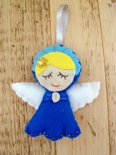 Cute angel doll felt ornament, Christmas decoration, nursery decoration, guardian angel, angel doll by craftoholicsoul on Etsy