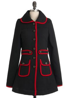 Met Your March Coat by Knitted Dove - Long, Black, Red, Buttons, Pockets, Trim, Long Sleeve, Solid, Casual, 3, Fall, Winter