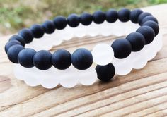 YINYANG Bracelet Black and White Bracelets Set by BohemianChicbead