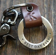 What was your best day ever like? Engrave a special date and your favorite sayings and carry it with you always! A handmade custom leather keychain is a perfect gift for Weddings, Anniversaries, or Birthday gifts. Handmade in Idaho. #bestdayever #bestdayofmylife #bestdayeverrr #keychain