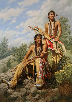 Blackfeet Scouts 1963 Oil on canvas by Krystii Melaine kp Native American Warrior, Native American Beauty, American Indian Art, Native American History, Native American Indians, Native American Paintings, Native American Pictures, Native American Artists, Indian Paintings