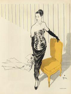 Illustration by René Gruau,  1946, Jeanne Lanvin Evening Gown.