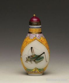 """Old Chinese Painted """"Grasshopper"""" Enamel, Glass Snuff Bottle"""