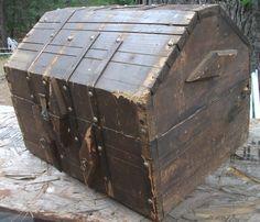 Antique Vintage Wooden Folk Treasure Angled Box Chest