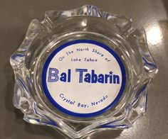 Vintage Bal Tabarin casino ashtray 1950s/1960s Crystal Bay Nevada on the North Shore of Lake Tahoe Souvenir