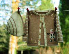 layette ensemble vache 1 mois en laine mérinos neuf tricoté main gilet et bonnet : Mode Bébé par com3pom