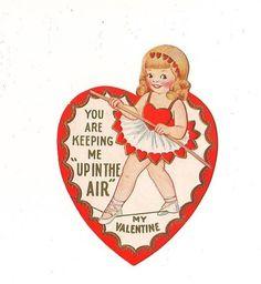 Vintage Single Layer Valentine Greeting Card ~ Girl Walking Tight Rope