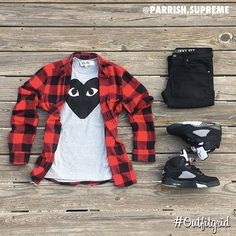 Today's top #outfitgrid is by @parrish.supreme. ▫️#CDG #Tee ▫️#HM #Denim & #Flannel ▫️#JordanV