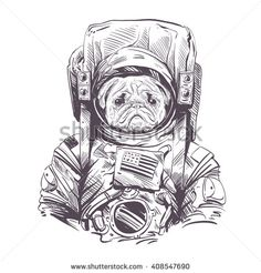 Pug dog in astronaut suit. Hand drawn vector illustration