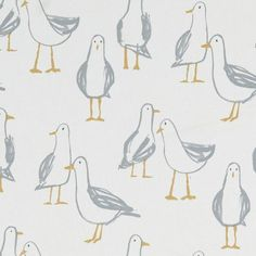 Laridae Printed Seagull FABRIC Natural By The Metre Cotton Clarke and Clarke Curtains Roman Blinds Accessories Cream Curtains, Cotton Curtains, Curtain Fabric, Cotton Fabric, Natural Curtains, Oilcloth Tablecloth, Tablecloths, Curtain Patterns, How To Make Curtains