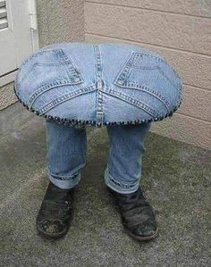 How Original a table made from jeans and it's legs look like real with man's shoes on the feet. Description from pinterest.com. I searched for this on bing.com/images