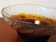 """Vintage Amber Glass """"Kivi-set"""" Bowl Signed by Pertti Santalahti for Humppila"""