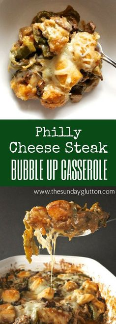 This Philly Cheese Steak Bubble Up combines all your favorite things about a cheese steak sandwich into one easy, hearty and healthy casserole. Tasty beef, peppers, onions, and cheese bake together with a creamy, garlic gravy and bubbled up biscuits for a meal everyone will love.
