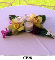 something like this would be pretty on the tables ... don't know if I can get these flowers here??