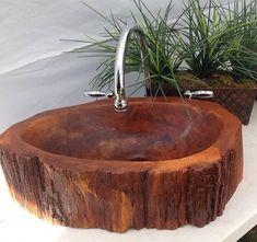 Custom Concrete wood log sink tree basin vessel vanity bathroom decor art rustic cabin wood bamboo teak cedar live edge lake house home barn
