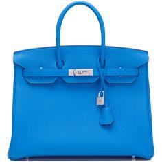 Pre-Owned Hermes Bleu Zanzibar Verso Togo Birkin 35cm Palladium... ($21,400) ❤ liked on Polyvore featuring blue