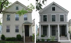 A Before and After of a home Exterior Remodel improving the look of the home and value.