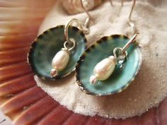 Sea Shell Earrings, Limpet Shells, Natural Rice Pearls, White Pearls, Aqua Shells, Beach Fashion, Sterling Silver, Genuine Shells, candies64 by Candies64 on Etsy https://www.etsy.com/listing/231424073/sea-shell-earrings-limpet-shells-natural