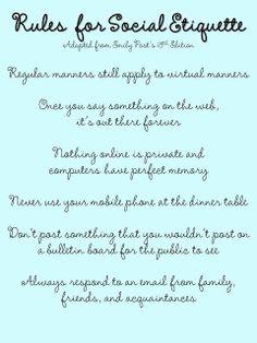 Rules for Social Etiquette