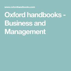 Oxford handbooks - Business and Management