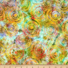 Michael Miller Batik Aerial Mango from @fabricdotcom  Designed for Michael Miller Fabrics, this Indonesian batik is perfect for quilting, apparel and home décor accents. Colors include orange, purple, green, yellow, aqua and blue.