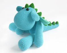 PATTERN: Dragon - Crocheted amigurumi dragon - Dinosaur - Stuffed animal - Baby shower gift - Soft toy - EN-030
