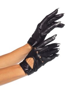 Black, wet look motorcycle gloves with keyhole velcro closure and attached silver claw fingertips. (Includes a set of 2 gloves) Motorcycle Gloves with Claws, Black Gloves, Claw Gloves Biker Gloves, Leather Motorcycle Gloves, Leather Gloves, Motorcycle Style, Motorcycle Helmets, Motorcycle Accessories, Gants Steampunk, Steampunk Gloves, Gothic Steampunk