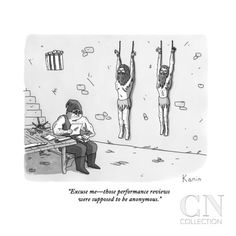 """Excuse me—those performance reviews were supposed to be anonymous."" - New Yorker Cartoon Poster Print by Zachary Kanin at the Condé Nast Collection"