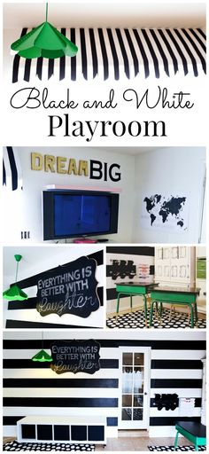 Modern Black and White Playroom with an awning, homework station, and chalkboard - from classyclutter.net