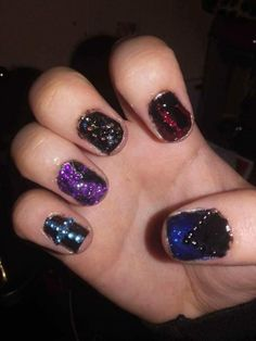 When I started doing Shellac Red Diamonds, Shellac Nails, Purple, Blue, Nail Designs, Glitter, Beauty, Nail Desings, Beauty Illustration