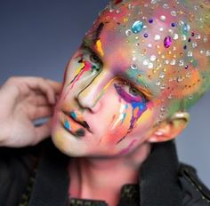 avant-garde, cabochon, makeup, rhinestones, sparkly, extreme make-up, avant-garde make-up, alienesque, MUA Michelle Webb, Michelle Webb