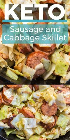 This Keto Sausage and Cabbage Skillet is ready in under 20 minutes and has less than 6 carbs per serving! This ultra easy low carb, one pan dinner is packed with flavor and SO EASY! dinner low carb Keto Sausage and Cabbage Skillet Crock Pot Recipes, Diet Recipes, Healthy Recipes, Lunch Recipes, Slimfast Recipes, Ketogenic Recipes, Low Carb Crockpot Recipes, Healthy Meals, Weight Watchers Recipes