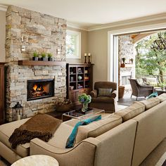 Built-in Shelves Around Stone Fireplace Design, Pictures, Remodel, Decor and Ideas - page 5