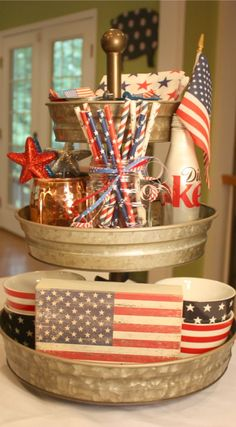 Easy Patriotic Decoration Ideas - A Southern Inspired Life : 3 tiered tray with patriotic decor Fourth Of July Decor, 4th Of July Celebration, 4th Of July Decorations, 4th Of July Party, July 4th, 3 Tier Stand, Tiered Stand, Galvanized Tiered Tray, Diy Décoration