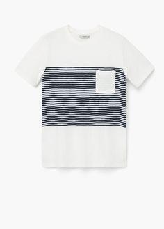 T-shirt riscas bolso - Homem 2cb105010d0