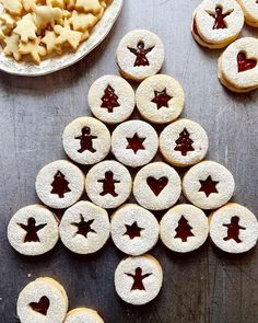 Linzer Cookie Tree Linzer Cookies, Holiday Cookies, Let Them Eat Cake, Tea Time, Sweet Treats, Tray, Sweets, Baking, Breakfast