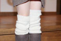 White leg warmers Baby Alpaca wool knit natural white by ekuboo