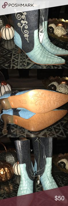 Cowboy boots, never worn. These are nice Mexican boots that have never been worn. I just wasn't sure what to wear them with. They have a leather sole and textured leather upper. El Canelo Shoes Ankle Boots & Booties